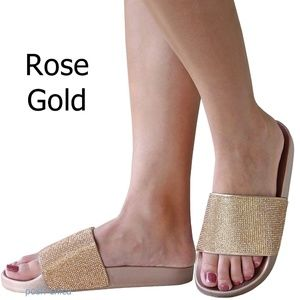 New Rose Gold Rhinestone Open Toe Slides Sandals